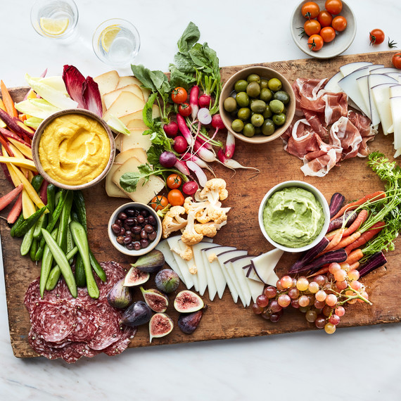 grazing board summer step 5 meats vegetables dips cheese wooden