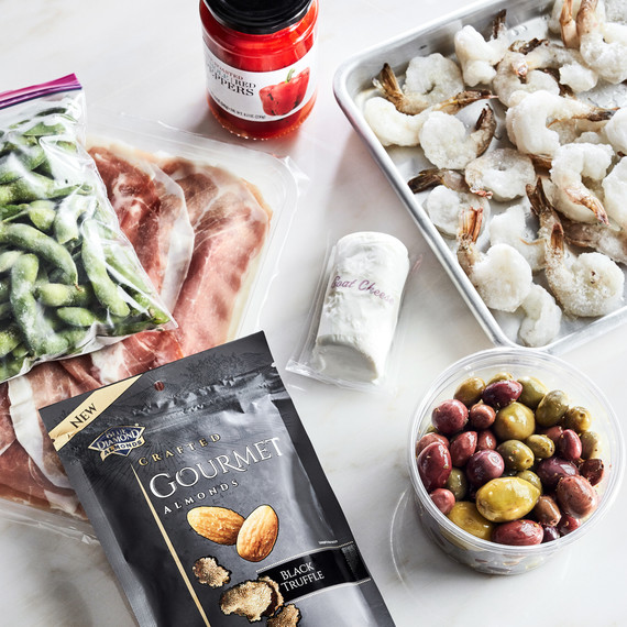 pantry ingredients olives nuts proscuitto
