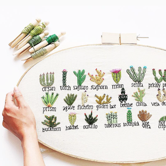 Yolish.Designs embroidered cacti library