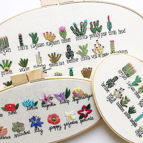 embroidered plant libraries