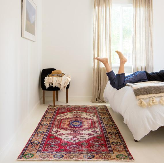 revival rug in bedroom