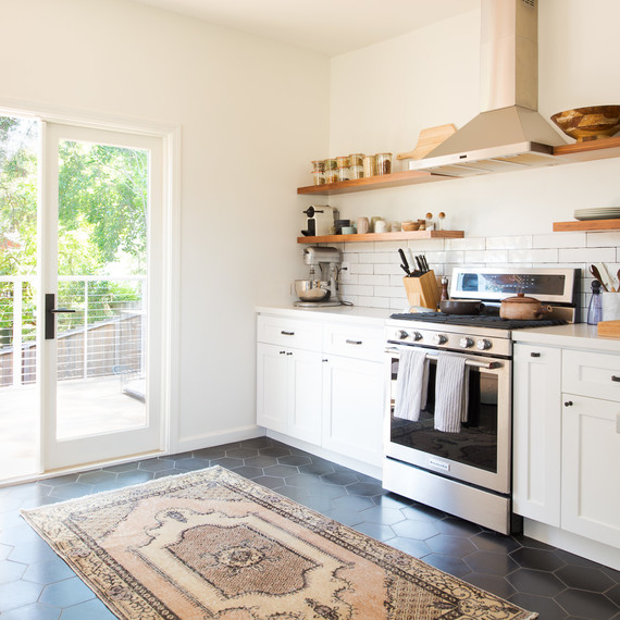 revival rug in kitchen