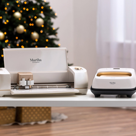 martha stewart easy press on table with christmas tree in background