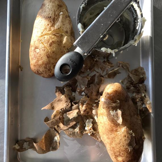 peeled and riced potatoes