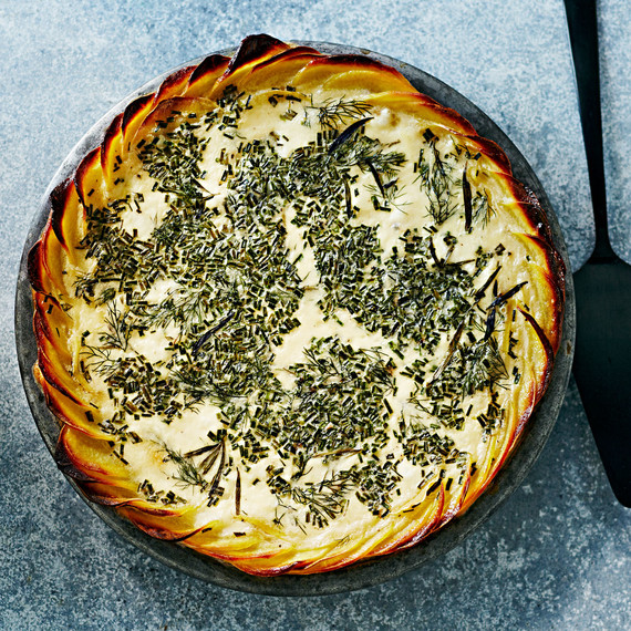 potato-crusted herb quiche