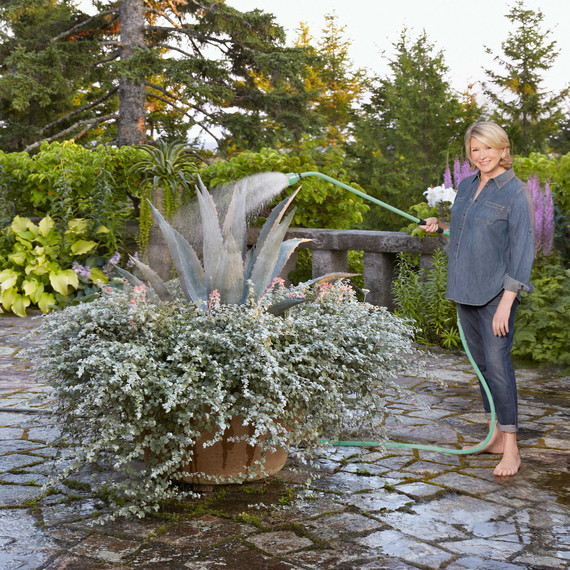 martha in garden with qvc watering wand