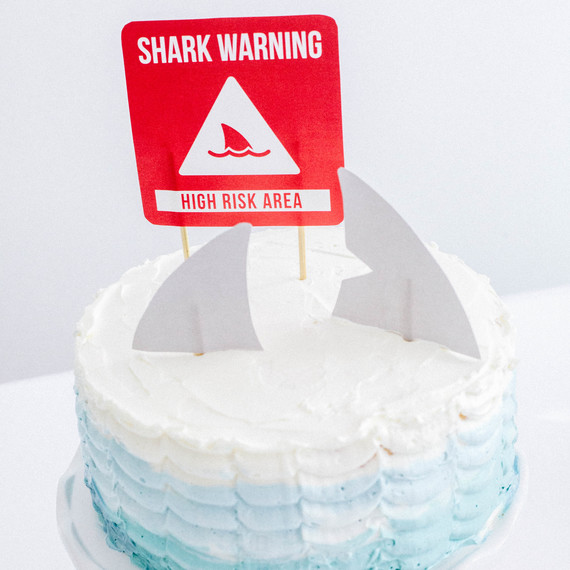 "Shark Week ombre ""ocean"" frosted cake"