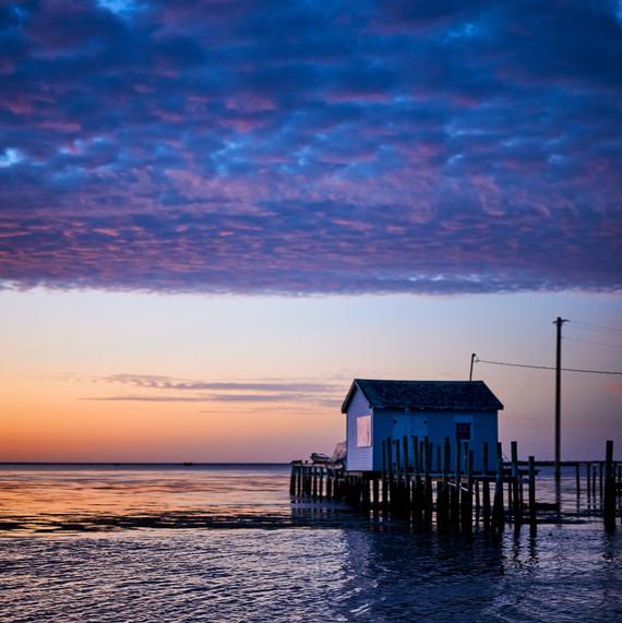 sunset on tangier fishing hut