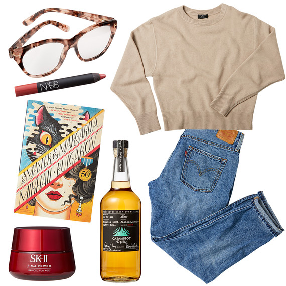 jeans sweater glasses drink poster face cream tastemaker