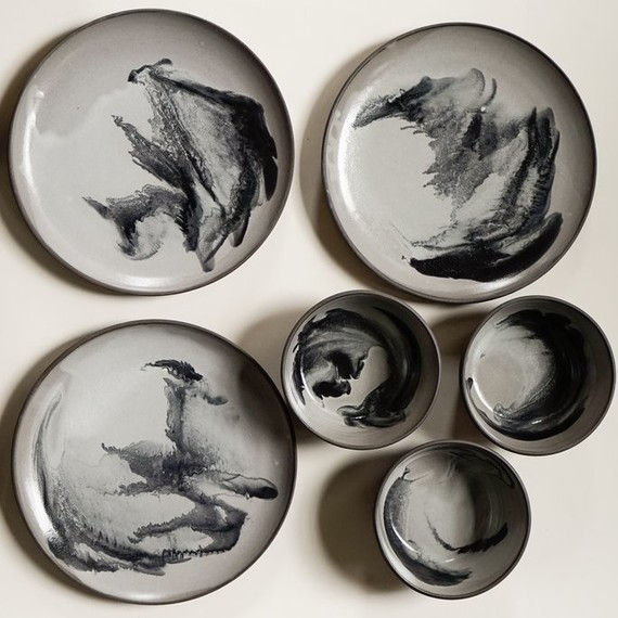marbled black and gray ceramic dishes