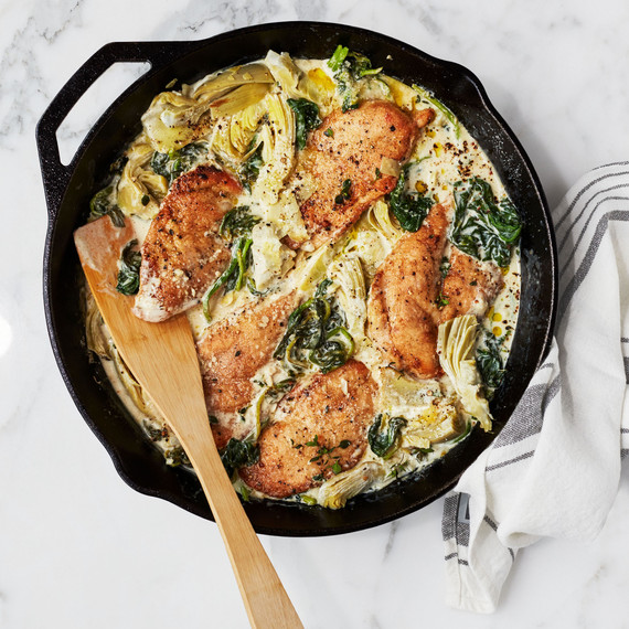creamy lemon chicken with spinach and artichokes