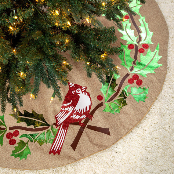 decorative cardinal and holly tree skirt