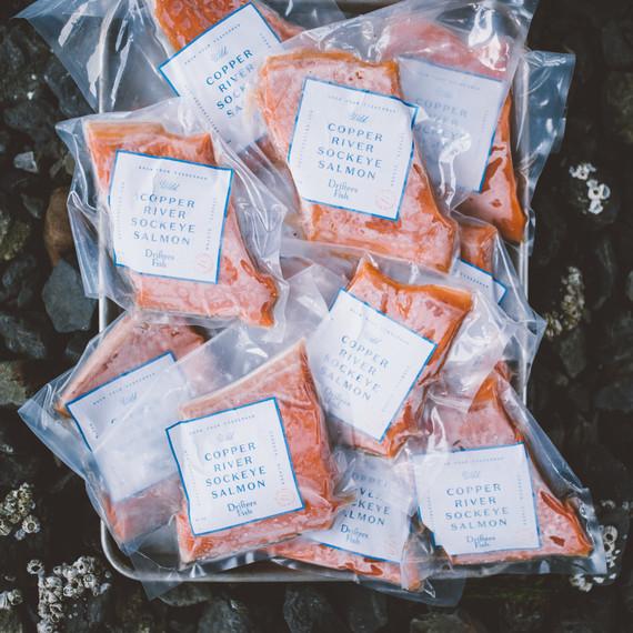 frozen wild salmon packaged