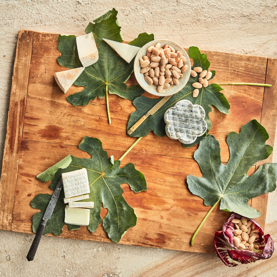 serving board with almonds