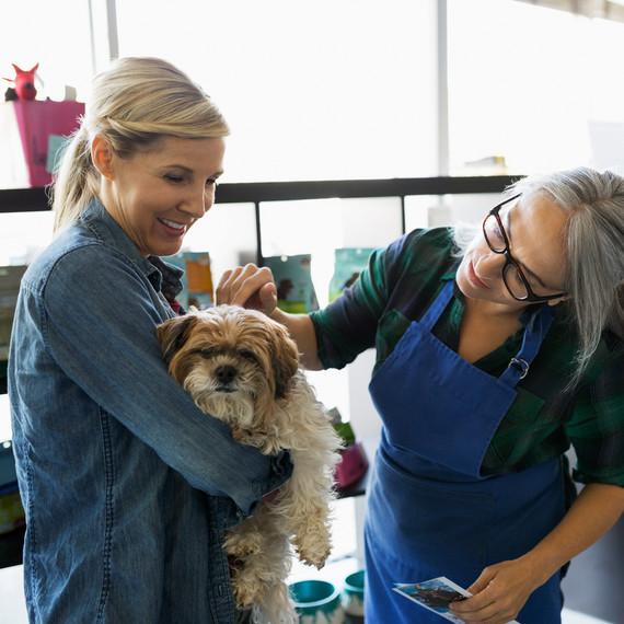 pet owner dog women talking boarding center
