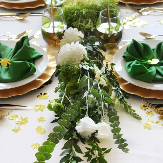 st. patrick's day healthy green lunch table greenery