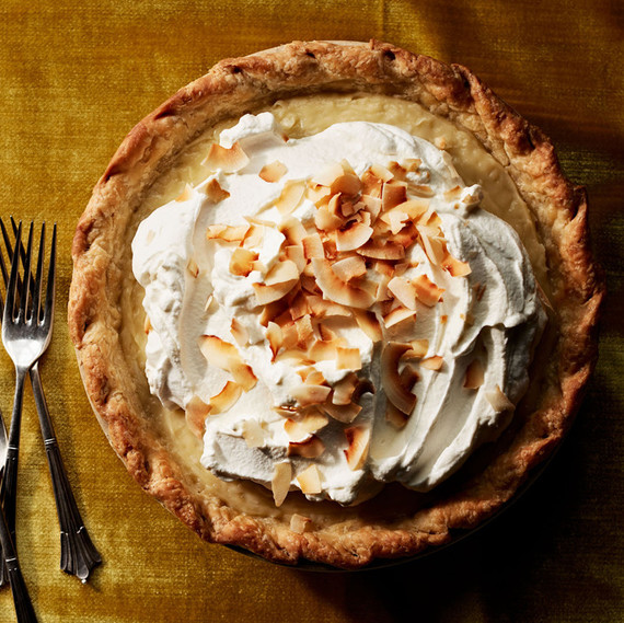 double-coconut cream pie on gold table cloth
