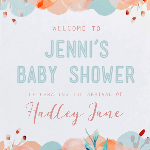 mint blush baby shower welcome sign