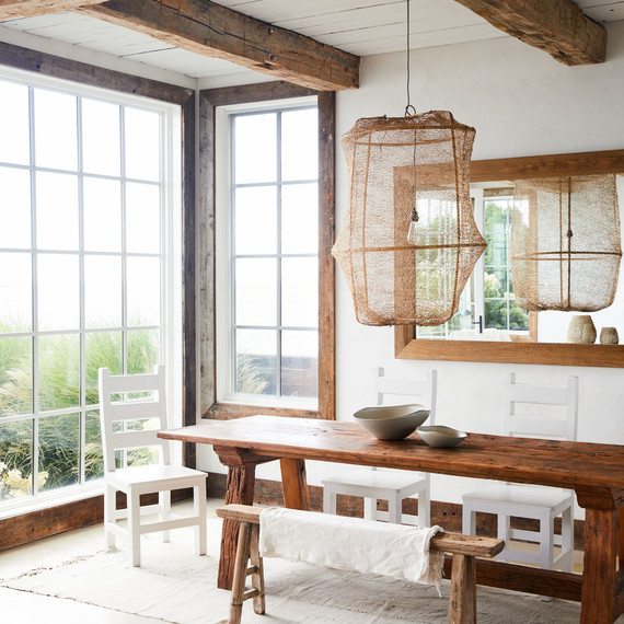 dining room with brazilian wood table