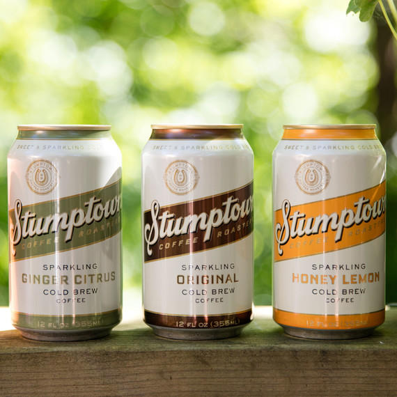 Three cans Stumptown sparkling coffee variety