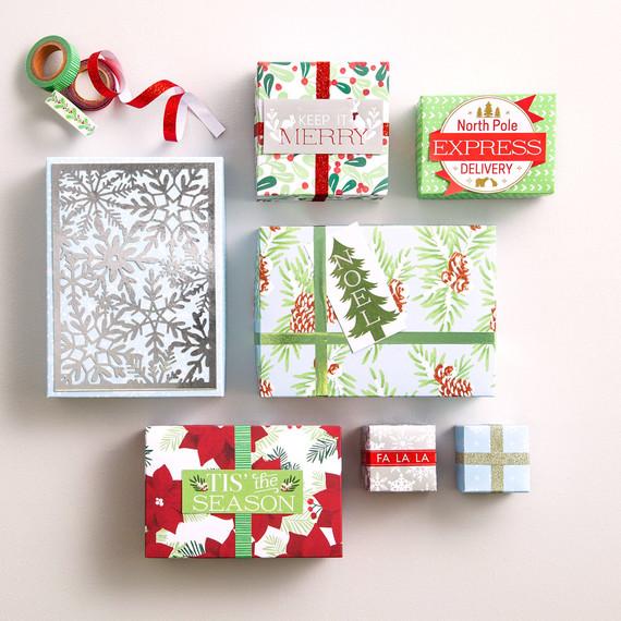 holiday gift wrap and ribbon