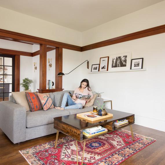 revival rug in living room