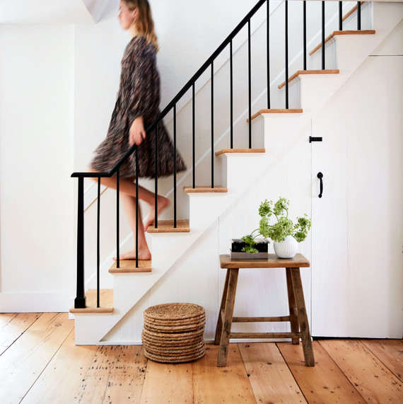 carolyn murphy home stairs table woman staircase