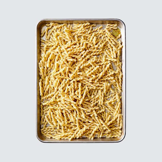 baking sheet of pasta noodles