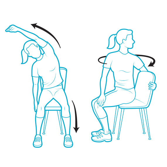 illustration posture stretches talking on phone