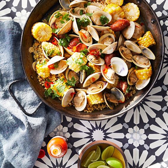 smoky clams and fregola