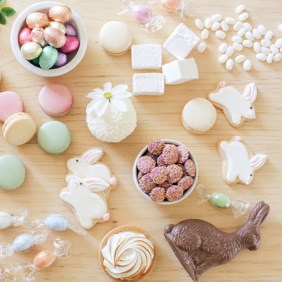 sugar and charm easter dessert bar table