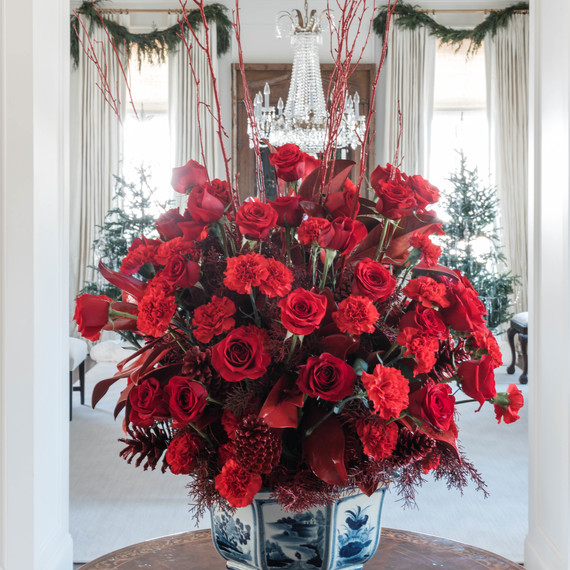 red floral holiday arrangement