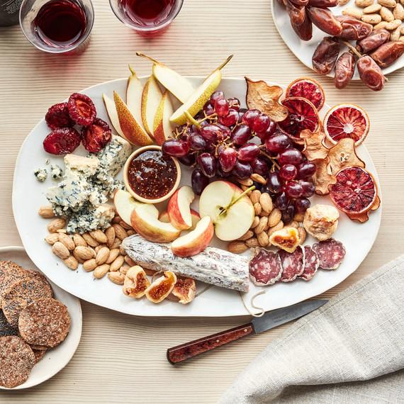 fall fruit nut platter wine
