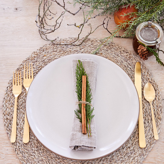 neutral winter place setting