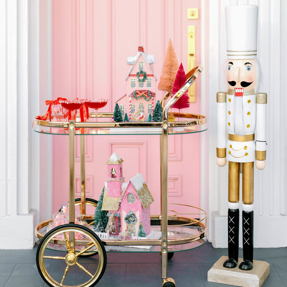 christmas party tall white nutcracker red drinks holiday houses