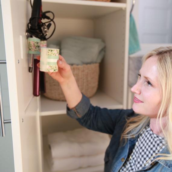 safe bathroom storage hair accessories
