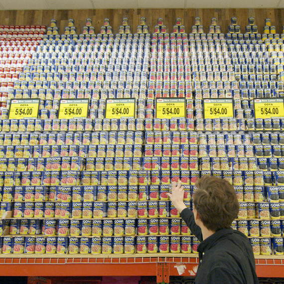 grocery store canned beans tower