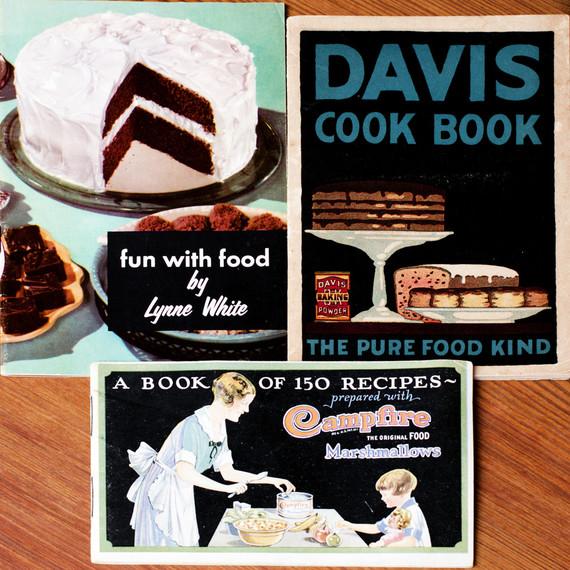 vintage dessert pamphlets with cake illustrations