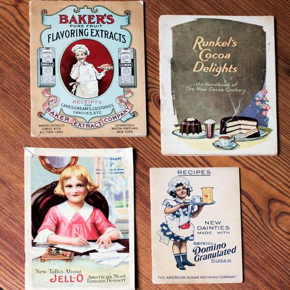 vintage dessert pamphlets with illustrations of children