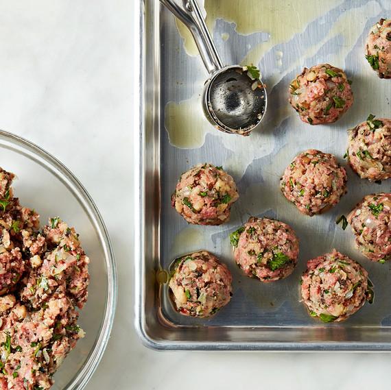 beef-and-mushroom meatballs