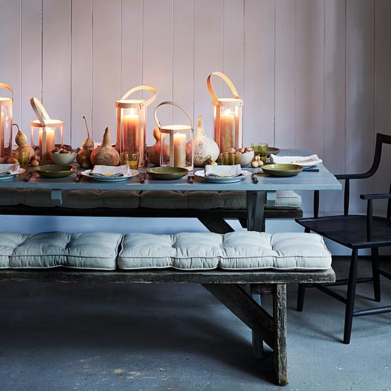 bench cushion thanksgiving table