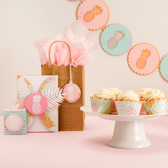 cricut pineapple party cupcakes gift baskets decorations