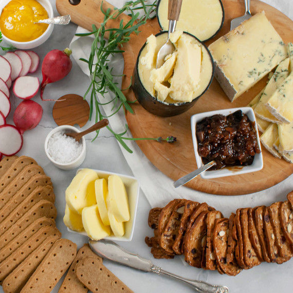 martha stewart gift basket with cheeses and spreads