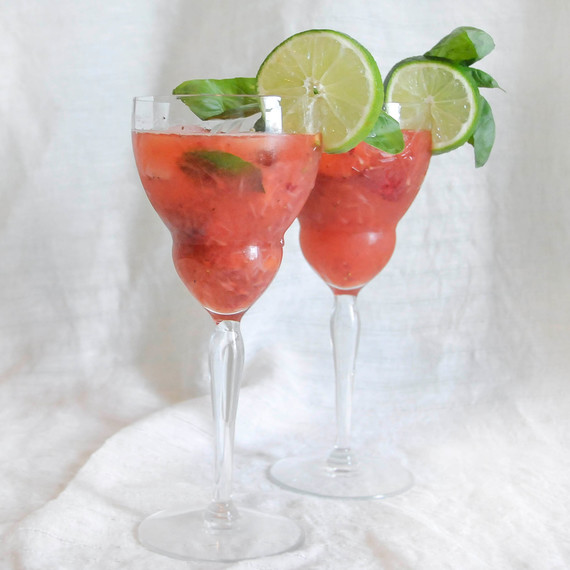 A Simple Shaken Strawberry Daiquiri...with Basil