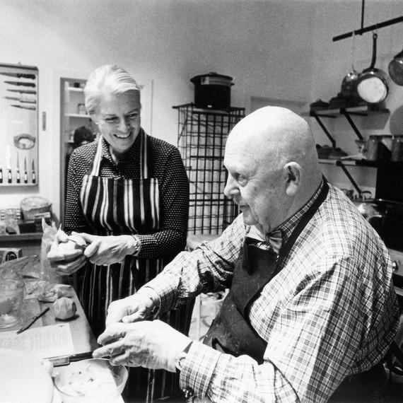 marion cunningham james beard kitchen black white older man woman