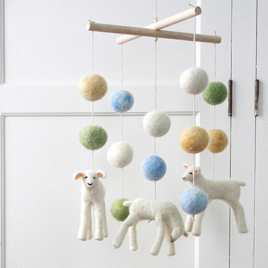 Felted Mobile Lambs