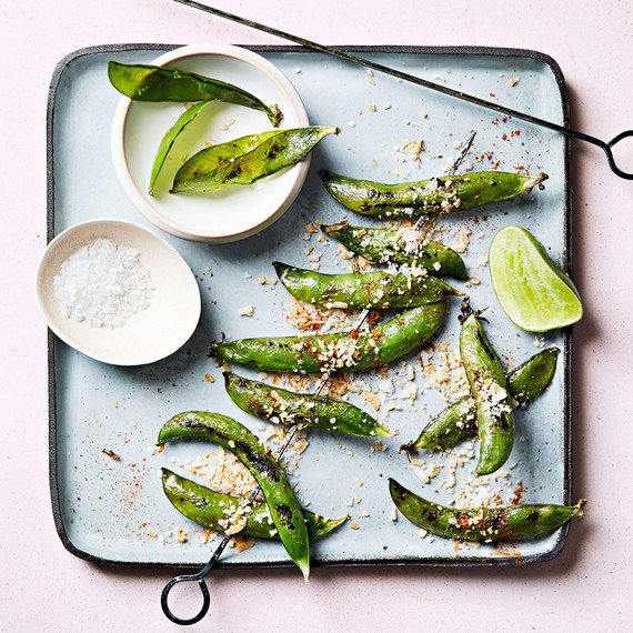 grilled peas with toasted coconut