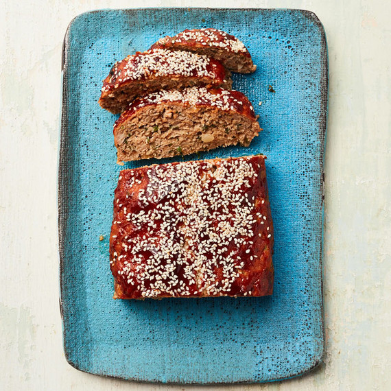 hoisin glazed turkey meatloaf on a blue platter