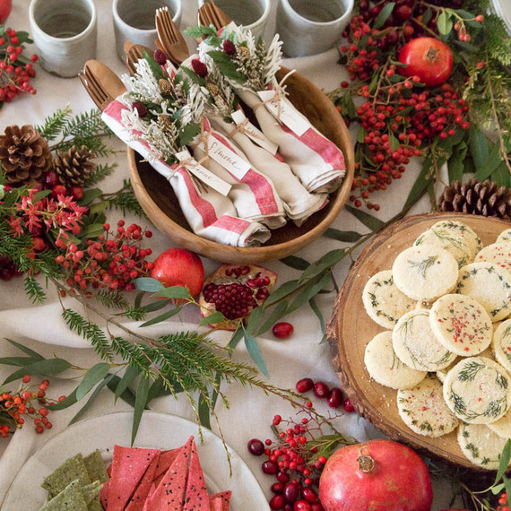 red and green winter holiday table details