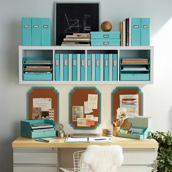 teal desk storage